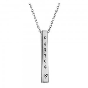 Stainless steel personalized pillar bar necklace as a gift for parents who've lost a child.