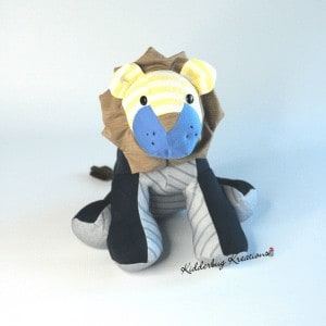Memory lion made from clothing of a loved one by Kidderbug Kreations.