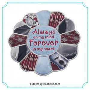 Necktie memory table topper from men's ties made by Kidderbug Kreations is a great gift idea for the loss of a father.