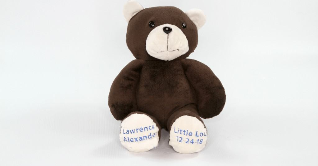 Brown Minky personalized weighted memory bear. The perfect gift for parents who've lost a child to stillbirth.