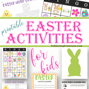 Samples of sheets included in the free printable Easter activity sheets for kids by Kidderbug Kreations.