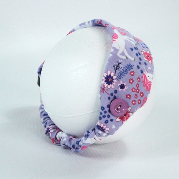 Back view of a stretchy headband with buttons for nurses or others needing to wear face masks regularly.