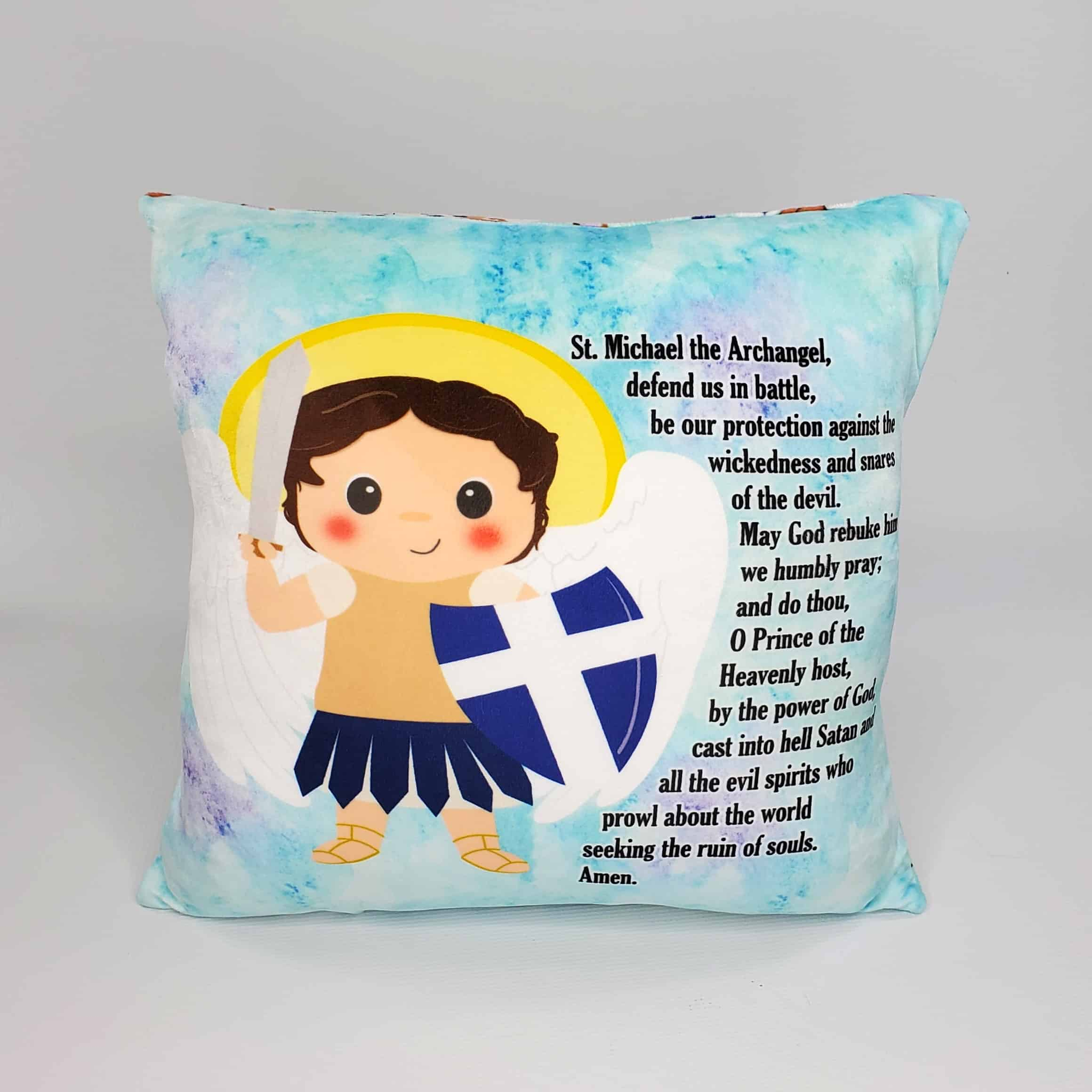 Saint Michael prayer pillow by Kidderbug Kreations. Perfect gift for baby, Baptism, First Communion, or Confirmation.