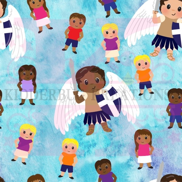 Saint Michael with kids of all colors. Perfect gift for baby, Baptism, First Communion, or Confirmation by Kidderbug Kreations.