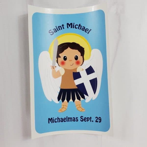 Saint Michael vinyl sticker from Kidderbug Kreations featuring St Michael with the words Michaelmas Sept. 29.