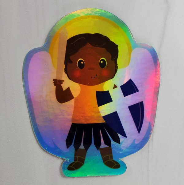 A holographic Saint Michael vinyl sticker from Kidderbug Kreations featuring a black St Michael.