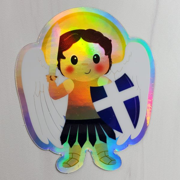 A holographic Saint Michael vinyl sticker from Kidderbug Kreations.