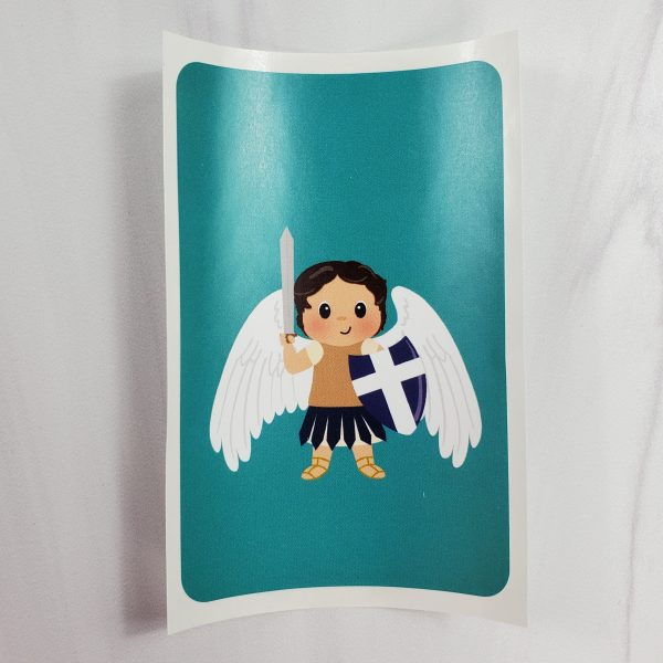 Saint Michael vinyl sticker from Kidderbug Kreations featuring a white Saint Michael.