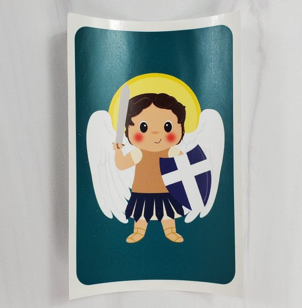 Saint Michael vinyl sticker from Kidderbug Kreations featuring a white Saint Michael with a halo.