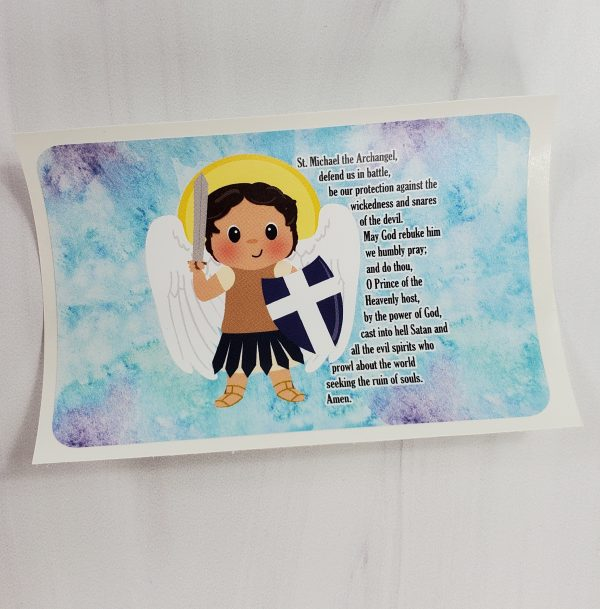 Saint Michael vinyl sticker from Kidderbug Kreations featuring a white Saint Michael with his prayer.
