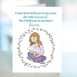 Stillbirth sympathy card with white mom holding a baby that appears transparent. Butterflies and stars surround the mom.