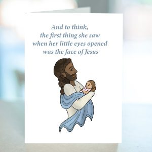 Infant loss sympathy card from Kidderbug Kreations featuring a black Jesus holding a baby in a pink suit.