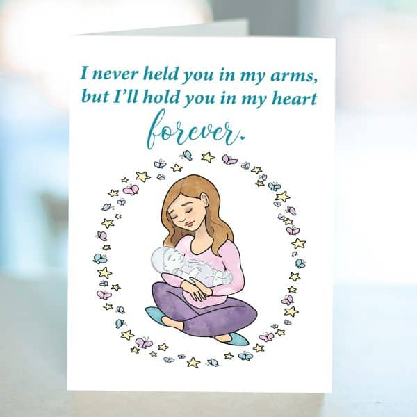 Sympathy card for miscarriage from Kidderbug Kreations featuring mom holding a baby that appears to be transparent.