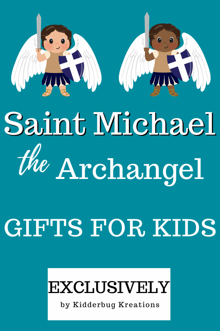 Best unique Saint Michael the Archangel gifts for kids featuring both black versions and white versions of St. Michael.