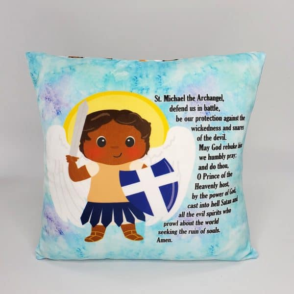 Black Saint Michael prayer pillow by Kidderbug Kreations. Perfect gift for baby, Baptism, First Communion, or Confirmation.