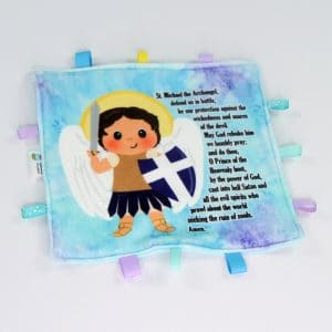 White St. Michael the archangel sensory blanket featuring Saint Michael's prayer is a perfect baby gift.