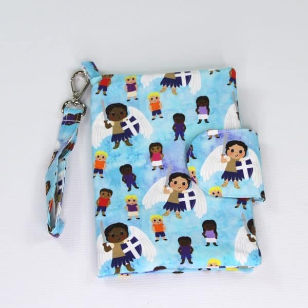 A Saint Michael diaper clutch in soft teals and purples let's you carry the essentials without a big bulky diaper bag.