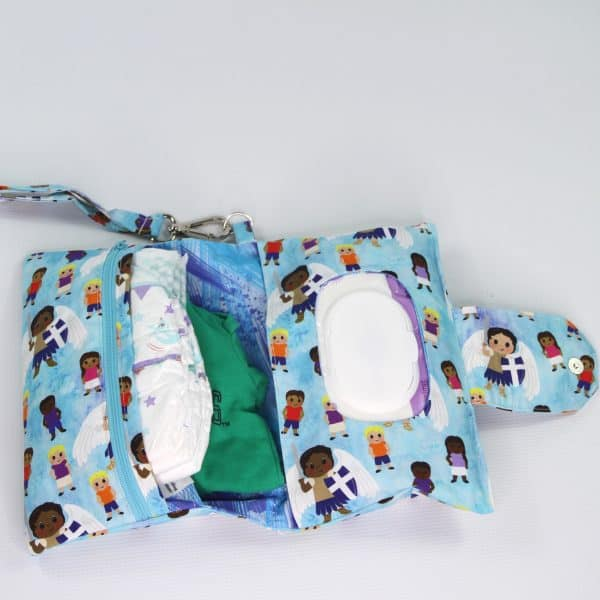 The inside of this Saint Michael diaper clutch has lots of room for all the necessities. Great baby shower gift.