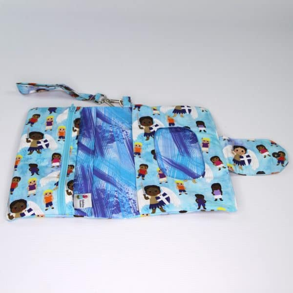 With lots of pockets, this Saint Michael diaper clutch has room for all the necessities. Great baby shower gift.