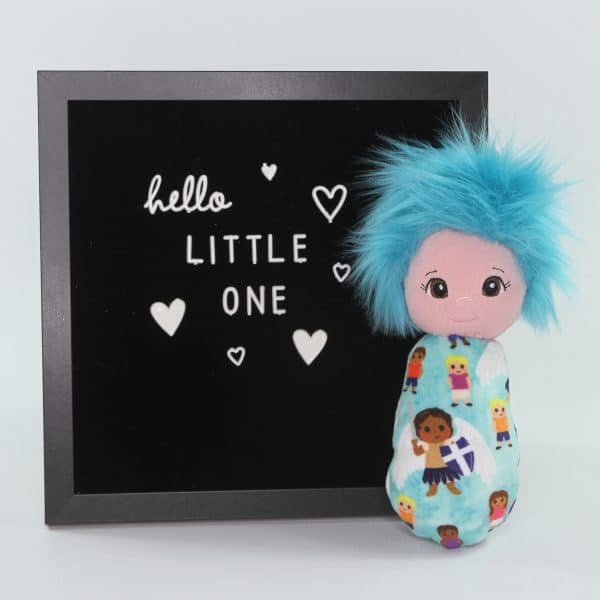 Saint Michael swaddle doll featuring soft fabric in teals and purples exclusively available at Kidderbug Kreations. Perfect baby's first doll.