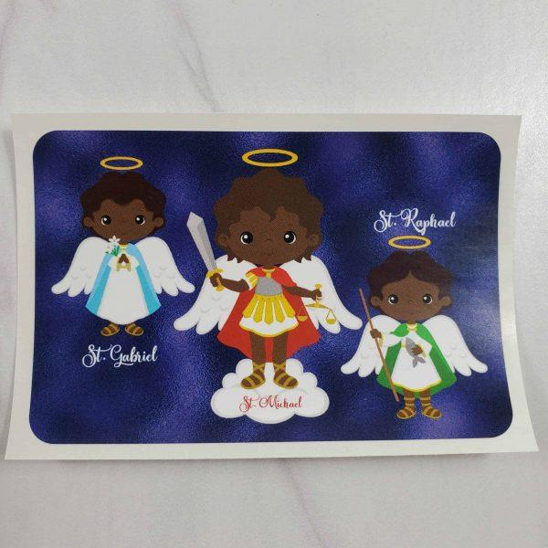 3 archangels with black skin vinyl stickers
