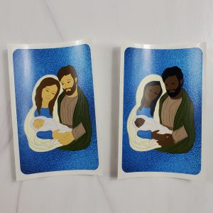 Holy Family vinyl stickers with white skin tones or black skin tones.