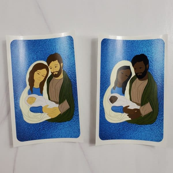 Holy Family vinyl stickers with white skin tones or black skin tones.