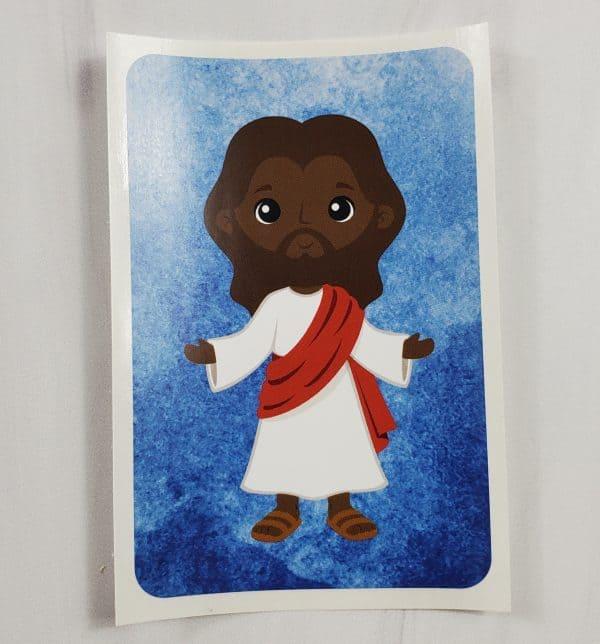 Jesus vinyl sticker with black skin tones.