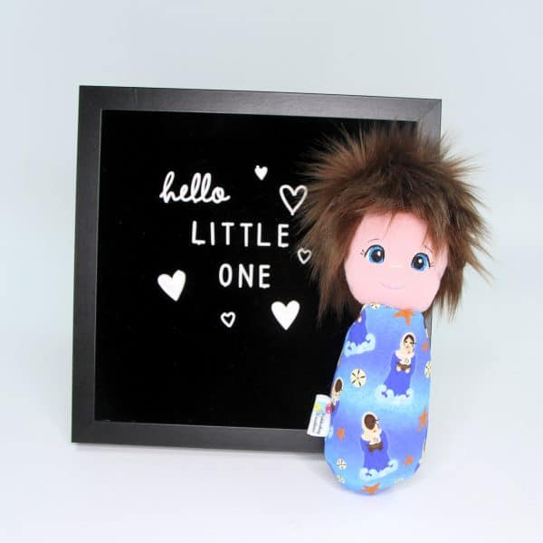 Stella Maris (or Mary of the Sea) swaddle doll is handcrafted and exclusive to Kidderbug Kreations.