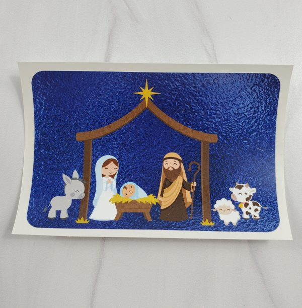 Nativity vinyl stickers with a blue metallic foil background