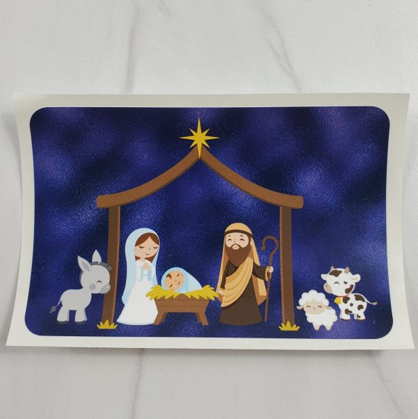 Nativity vinyl stickers with a mottled blue metallic foil background