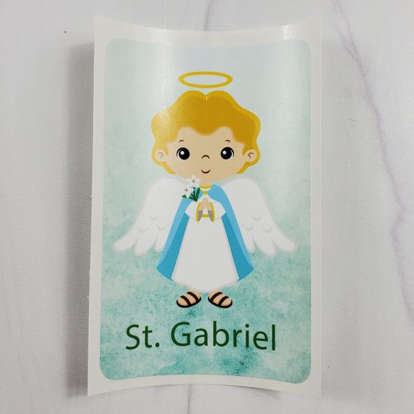 White St. Gabriel vinyl sticker from Kidderbug Kreations
