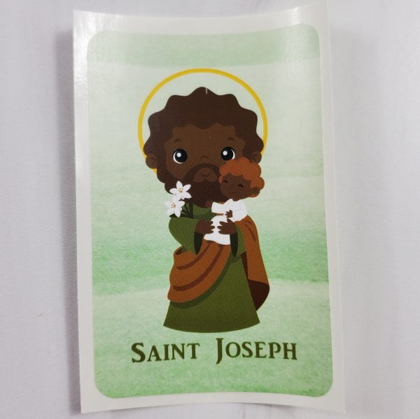 Black skin toned St. Joseph vinyl sticker.