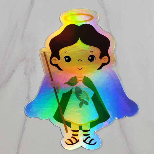 Holographic St. Raphael vinyl sticker from Kidderbug Kreations