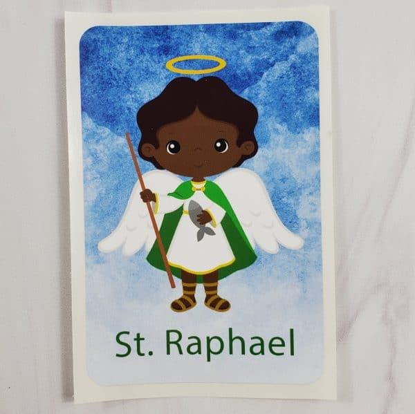 Black St. Raphael vinyl sticker from Kidderbug Kreations