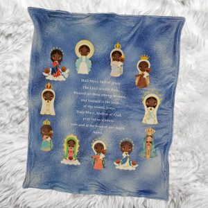 A Hail Mary baby blanket featuring a black Mary in various versions such as Our Lady of Lourdes is a perfect baby gift or Baptism gift.