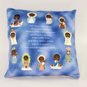 Hail Mary prayer pillow featuring black versions of Mary along with the prayer. Perfect gift for baby, Baptism, First Communion, or Confirmation.