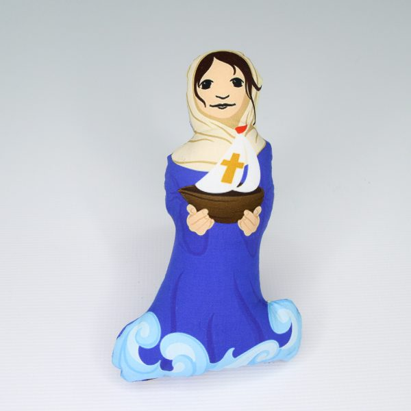 A Stella Maris fabric doll featuring Mary of the Sea with starfish and sand dollars. The perfect baby or Baptism gift.