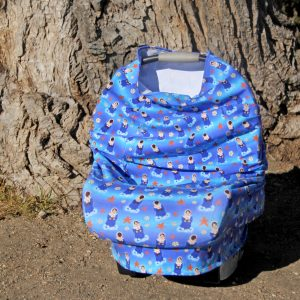 A Stella Maris (Mary of the Sea) stretchy car seat cover makes a great baby shower gift. The stretchy knit lets it be used in 5 ways.