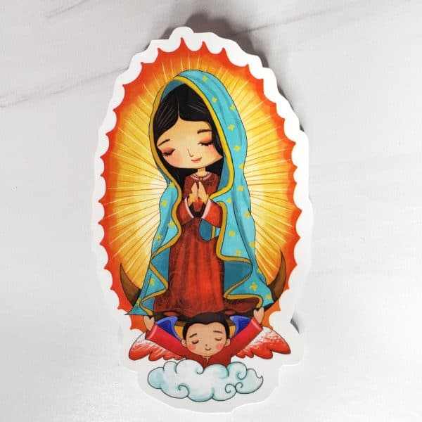 With pretty teal, red, and yellows, the Our Lady of Guadalupe featuring an angel holding her up, is a beautiful sticker.