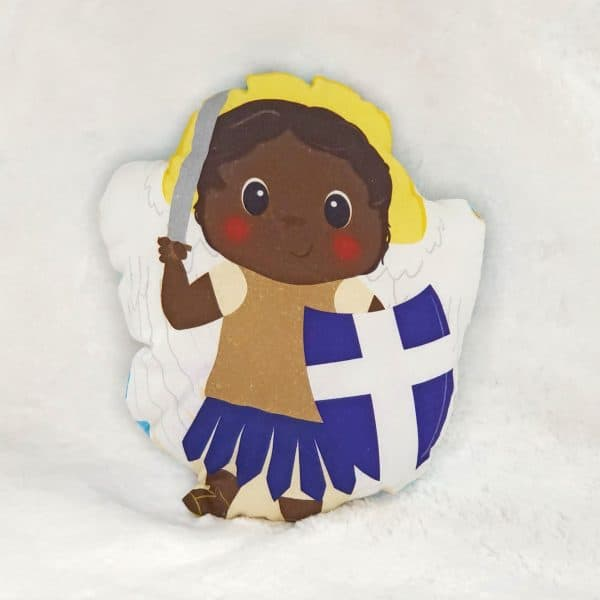 A black St. Michael fabric doll featuring St. Michael and children of various colors is a perfect baby gift or Baptism gift.