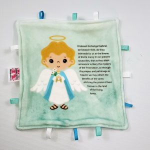 St. Gabriel the archangel sensory blanket featuring Saint Gabriel's prayer is a perfect baby gift.