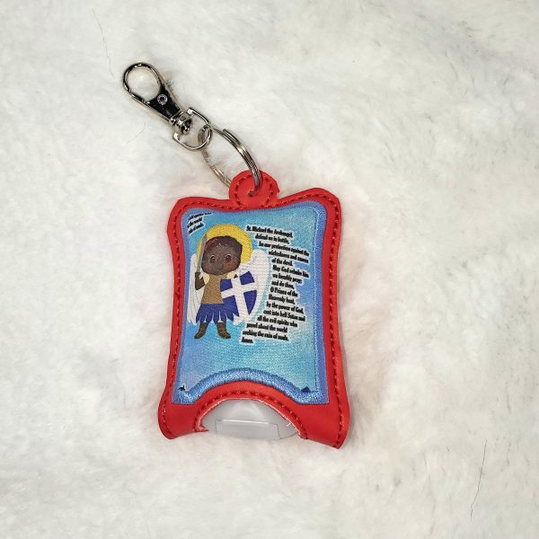 St. Michael hand sanitizer case with a swivel clip to keep it close by. Great gift for any Catholic with a devotion to the archangels.