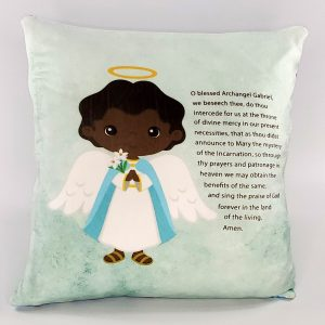 Black Saint Gabriel prayer pillow by Kidderbug Kreations. Perfect gift for baby, Baptism, First Communion, or Confirmation.