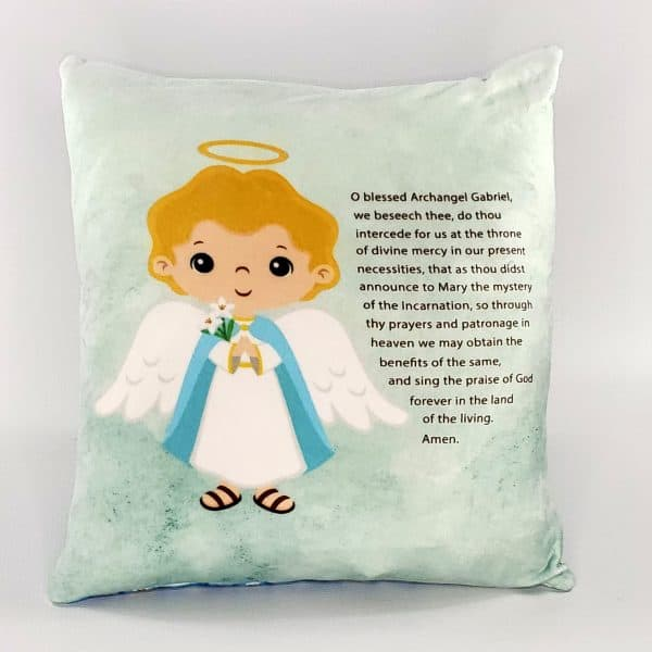 Saint Gabriel prayer pillow by Kidderbug Kreations. Perfect gift for baby, Baptism, First Communion, or Confirmation.