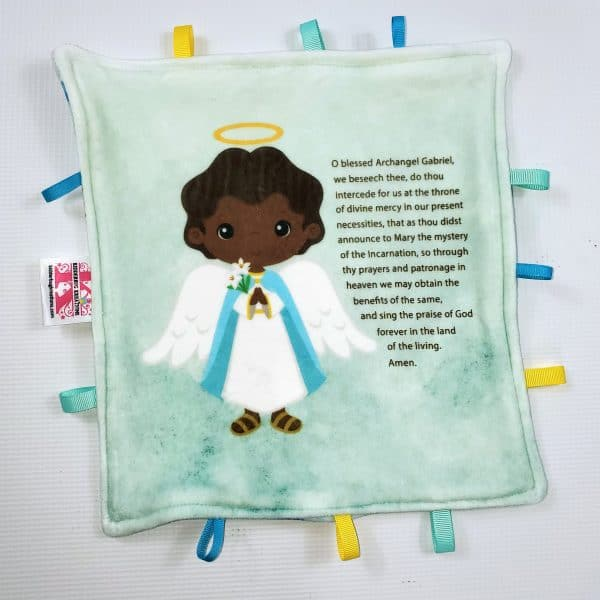 Black St. Gabriel the archangel sensory blanket featuring Saint Gabriel's prayer is a perfect baby gift.