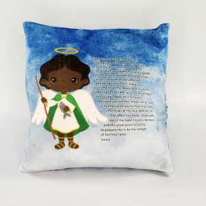 Black Saint Raphael prayer pillow by Kidderbug Kreations. Perfect gift for baby, Baptism, First Communion, or Confirmation.
