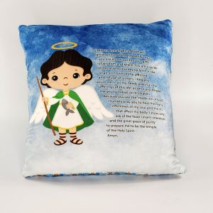 Saint Raphael prayer pillow by Kidderbug Kreations. Perfect gift for baby, Baptism, First Communion, or Confirmation.