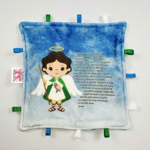 St. Raphael the archangel sensory blanket featuring Saint Raphael's prayer is a perfect baby gift.
