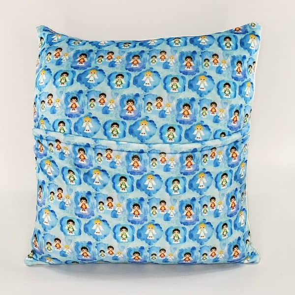 Back of the St. Gabriel prayer pillow by Kidderbug Kreations. Perfect gift for baby, Baptism, First Communion, or Confirmation.